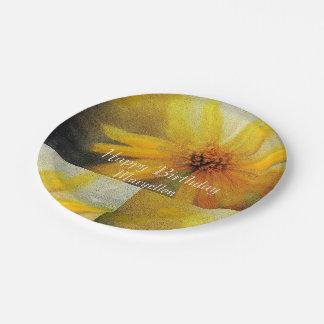 Plato De Papel Placa de papel de saludo del girasol amarillo del
