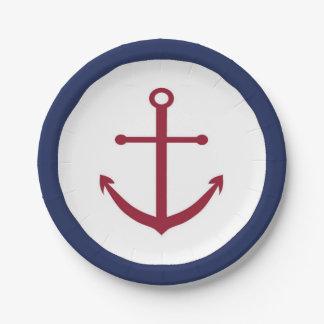 Plato De Papel Placa de papel del ancla roja náutica de la fiesta