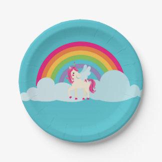 Plato De Papel Placa de papel del arco iris rosado del unicornio
