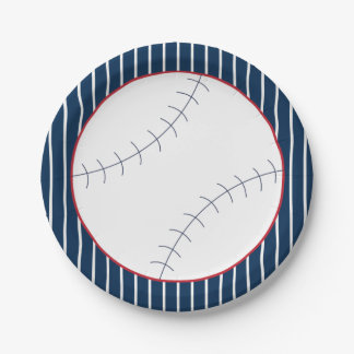 Plato De Papel Placa de papel del béisbol rayado de la marina de