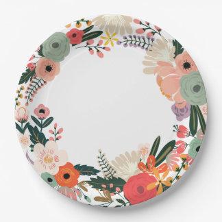 Plato De Papel Placa de papel del boda floral de Anya
