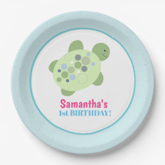 Plato De Papel Placa de papel del cumpleaños de la tortuga de mar