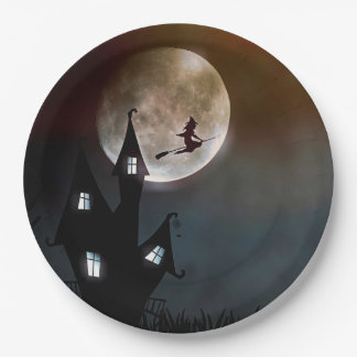 Plato De Papel Placa de papel del feliz Halloween de la bruja del