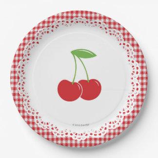 Plato De Papel Placa de papel del fiesta de la cereza