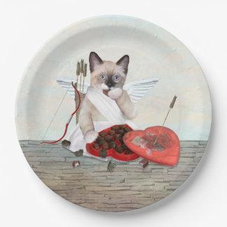 Plato De Papel Placa de papel del gatito del Cupid