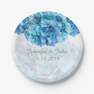 Plato De Papel Placa de papel del Hydrangea de la colección azul