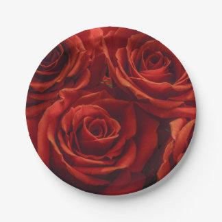 Plato De Papel Placa de papel del rosa rojo
