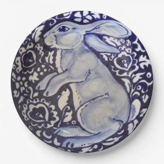 Plato De Papel Placa de papel derecha de Dedham del conejo azul y