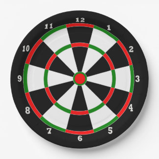 Plato De Papel Placa de papel - diseño del reloj del Dartboard