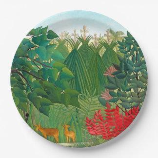 Plato De Papel Placa de papel floral de la selva de la cascada de