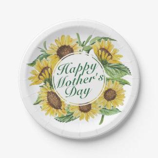 Plato De Papel Placa de papel floral feliz del día de madre de