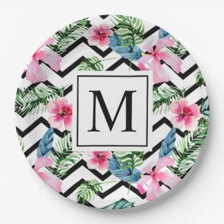 Plato De Papel Placa de papel floral tropical del monograma el |