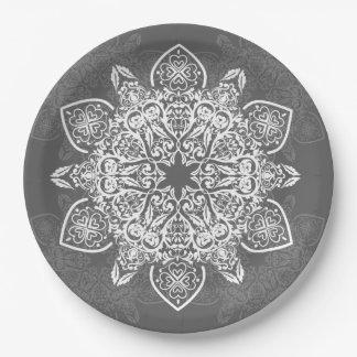 Plato De Papel Placa de papel gris y blanca de la mandala del
