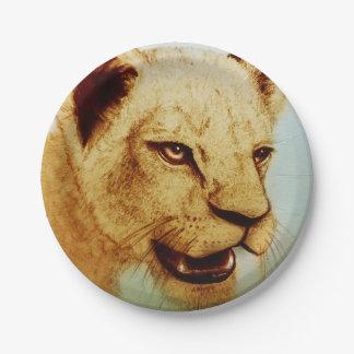 Plato De Papel Placa de papel ilustrada colorida - león