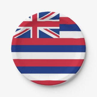 Plato De Papel Placa de papel patriótica con la bandera de Hawaii