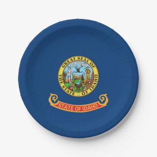 Plato De Papel Placa de papel patriótica con la bandera de Idaho