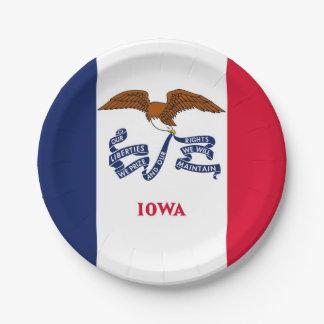 Plato De Papel Placa de papel patriótica con la bandera de Iowa