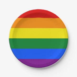 Plato De Papel Placa de papel patriótica con la bandera de LGBT