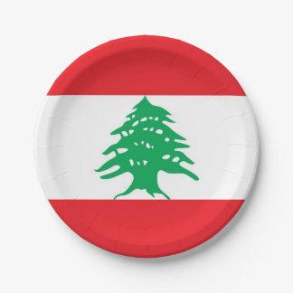 Plato De Papel Placa de papel patriótica con la bandera de Líbano
