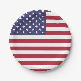 Plato De Papel Placa de papel patriótica con la bandera de los
