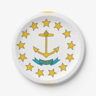 Plato De Papel Placa de papel patriótica con la bandera de Rhode