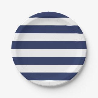 Plato De Papel Placa de papel rayada azul y blanca náutica