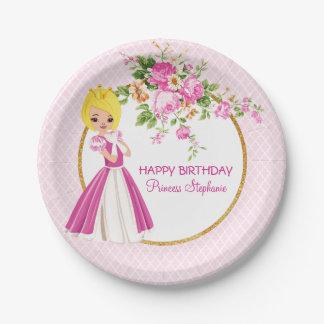 Plato De Papel Placa de papel rubia bonita de princesa Birthday
