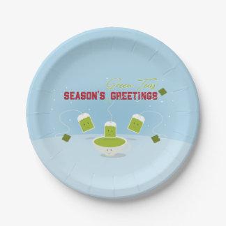 Plato De Papel Placa de papel verde de los tés el | de la