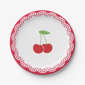 Plato De Papel Placa de postre del fiesta de la cereza