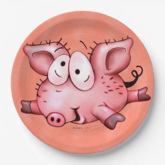 Plato De Papel PLACA del cerdo del Ti 9 PULGADAS de anaranjado
