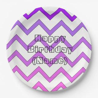 Plato De Papel Placa del cumpleaños de Chevron