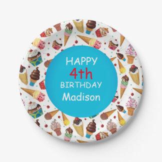 Plato De Papel Placa del cumpleaños del helado del niño de