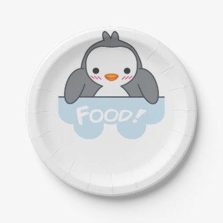 Plato De Papel Placa hambrienta Finguin de la comida de Pinguin y