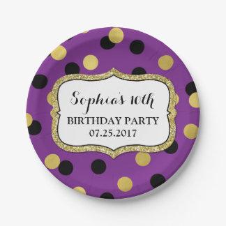 Plato De Papel Placa negra púrpura de la fiesta de cumpleaños del