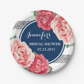 Plato De Papel Placa nupcial de la ducha de las flores rosadas de