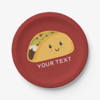 Plato De Papel Placa sonriente linda del fiesta del Taco