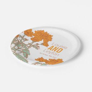 Plato De Papel Placas anaranjadas del personalizado de la flor