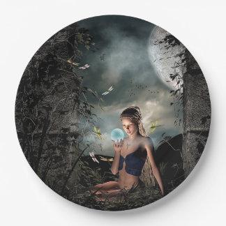 Plato De Papel Placas bonitas de la bola de cristal de la Luna