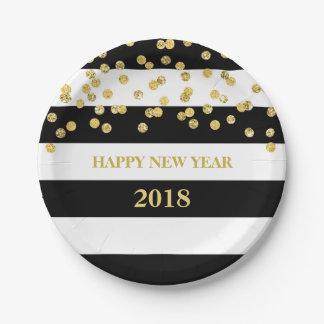 Plato De Papel Placas de la Feliz Año Nuevo del confeti del oro