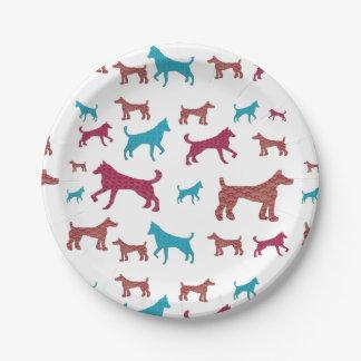 Plato De Papel Placas de la silueta del perro