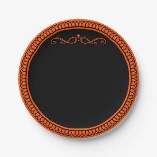Plato De Papel Placas de papel anaranjadas y negras