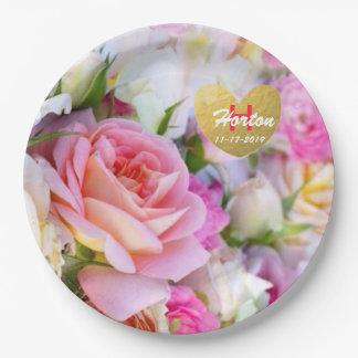 Plato De Papel Placas de papel color de rosa de encargo