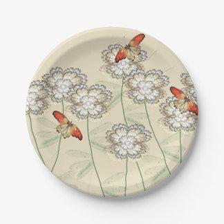 Plato De Papel Placas de papel con el diseño floral de Digitaces