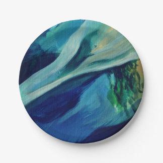 Plato De Papel Placas de papel de encargo azules 7 del agua
