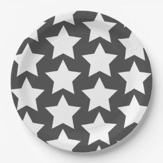 Plato De Papel Placas de papel de estrellas de los grises