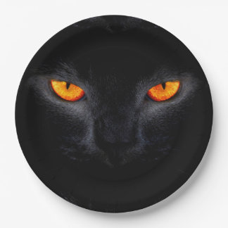 Plato De Papel Placas de papel de Halloween/gato negro