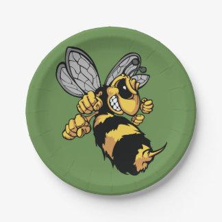 Plato De Papel Placas de papel de la abeja muy enojada