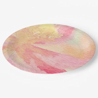 Plato De Papel Placas de papel de la acuarela floral rosada