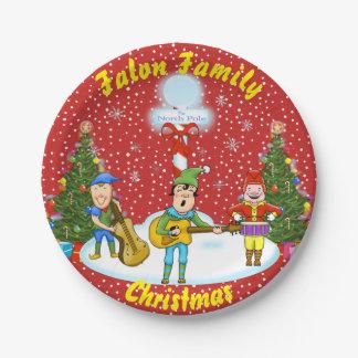 Plato De Papel Placas de papel de la banda del navidad del duende
