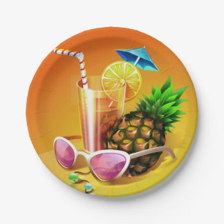 Plato De Papel Placas de papel de la bebida tropical